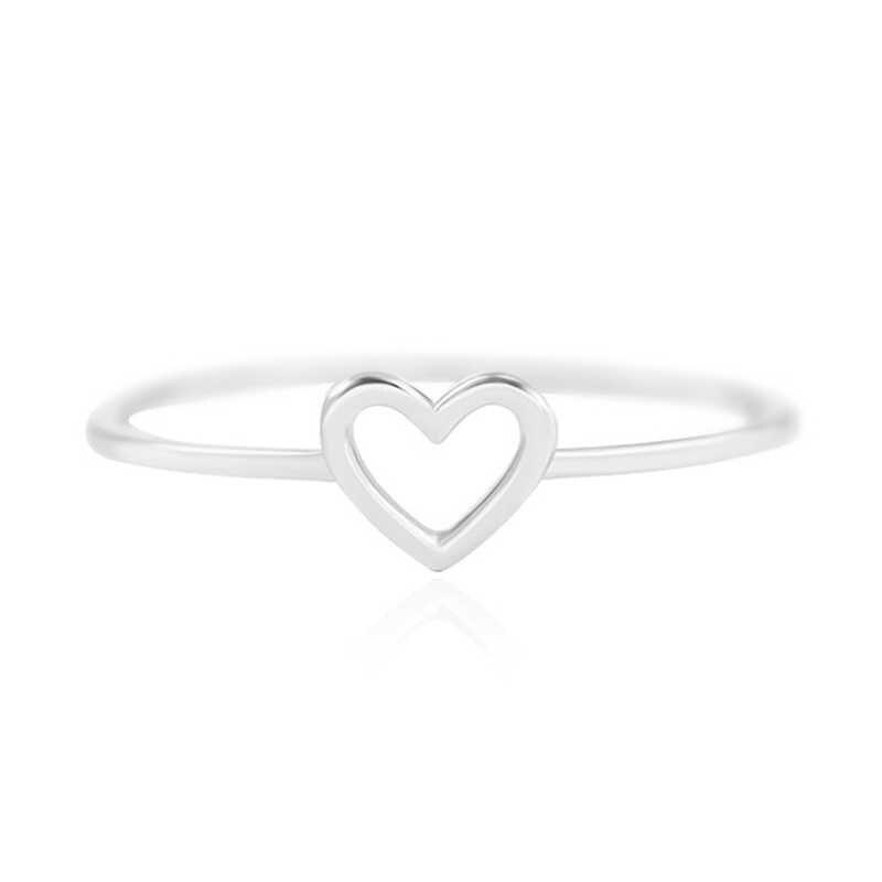 זהב חלול החוצה יפה כסף חתונה זוגות לב 1PC טבעת הכלה Size6 7 8 9 10 צעיף אביזרי האהבה מתנה