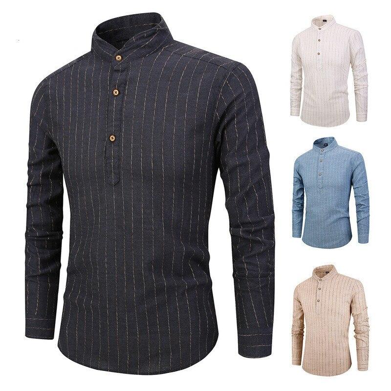 bcff1a410a Comprar 2018 Homens Camisas de linho Listrado Ocasional de Manga Comprida Camisa  Social Masculina Camisas de Vestido Dos Homens Outwear Baratas Online Preço
