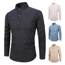 2018 Men Striped linen Shirts Casual Long Sleeved Mens Shirt Male Social Dress Shirts Outwear