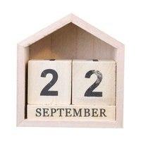 빈티지 디자인 하우스 모양 영원한 달력 나무 책상 나무 블록 홈 오피스 용품 장식 Artcraft