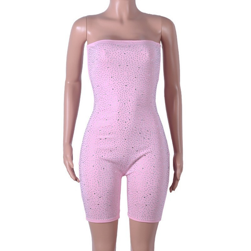fa41acc5e0d2b US $21.17 |Tobinoone Pink Birthday Sequin Romper Strapless Tube Top Bike  Shorts Sexy Glitter Jumpsuit Clubwear Party Outfits for Women-in Rompers  from ...