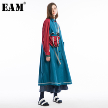 [EAM] 2019 New Spring Full Sleeve Turn-down Collar Patchwork Button Loose Casual Women