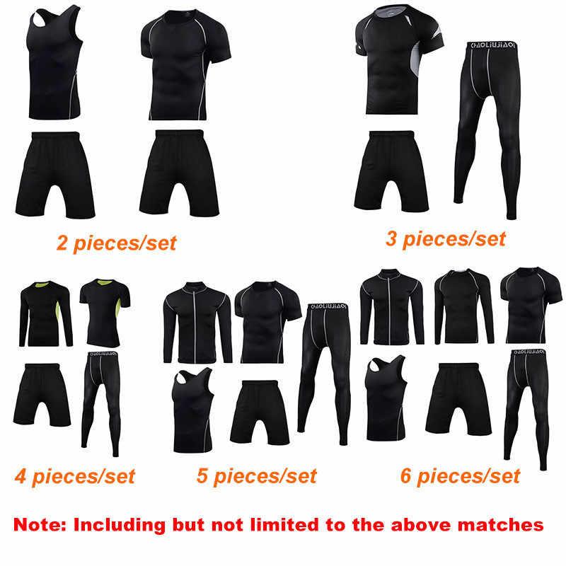 男性スポーツウェア圧縮スポーツスーツ速乾ランニングセット服スポーツジョギングトレーニングジムフィットネスジャージを実行しているセット