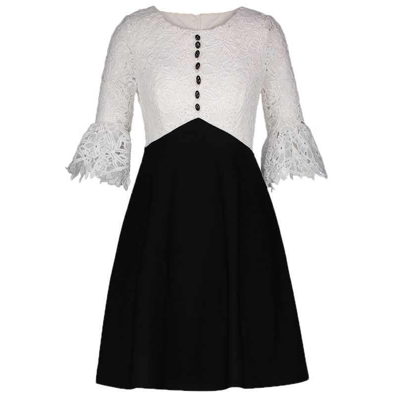 Lace Dress Women Black White Patchwork Fashion Beading Spring Summer High Waist A Line Party Sexy Elegant Office Dresses Female