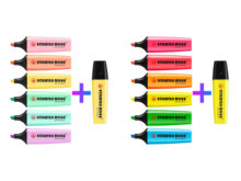 مجموعة من 14 قلم ستابيلو بوس نيون وباستيل الأصلي 12 لون زائد 1 إضافي أصفر/حليبي أصفر هيغليغتر