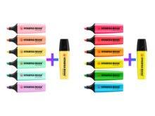 Conjunto de 14 canetas stabilo chefe neon e pastel originais marcadores 12 cores mais 1 amarelo adicional/leitoso amarelo highlighter