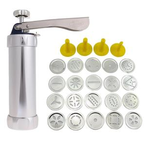 Stainless Steel Cookies Press Cutter Cookie Maker Pump Press Machine Cake Decor 20 Molds 4 Nozzles Baking Tools Drop Shipping(China)