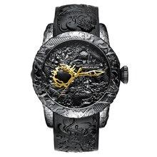 8d03a156d8c2 Megalito de oro de lujo de dragón escultura Reloj para Hombre Casual  impermeable gran Dial de relojes de pulsera Reloj de cuarzo.
