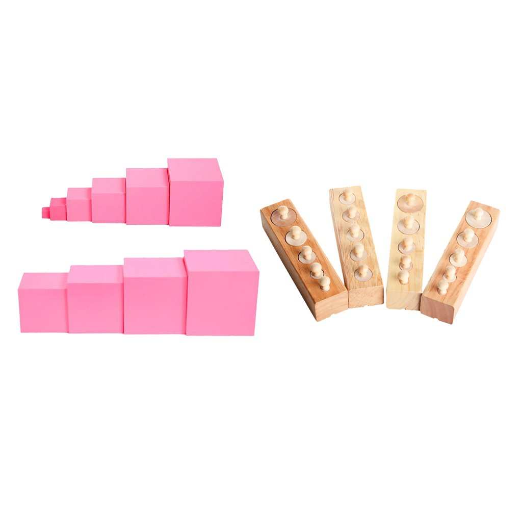 Montessori Family Toy Pink Tower and Cylinder Block Sensory Material Educational Toys for Kids