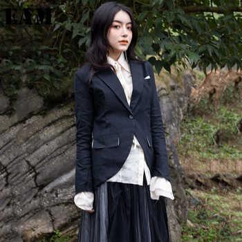 [EAM] 2019 New Autumn Winter Black Lapel Long Sleeve Single Button Slim Black Irregular Jacket Women Coat Fashion Tide 1C102 - DISCOUNT ITEM  17% OFF All Category