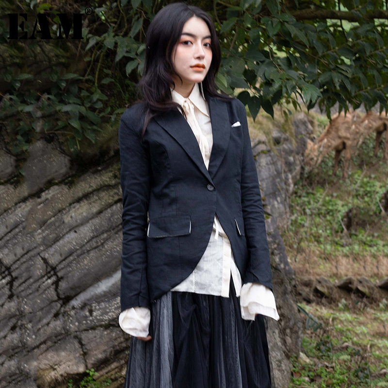 [EAM] 2019 New Autumn Winter Black Lapel Long Sleeve Single Button Slim Black Irregular Jacket Women Coat Fashion Tide 1C102-in Jackets from Women's Clothing    1