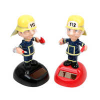 Firemen Shape Car Ornament Solar Powered Dancing Toy Dashboard Decoration Car Styling Swinging Home Decor Auto Accessories