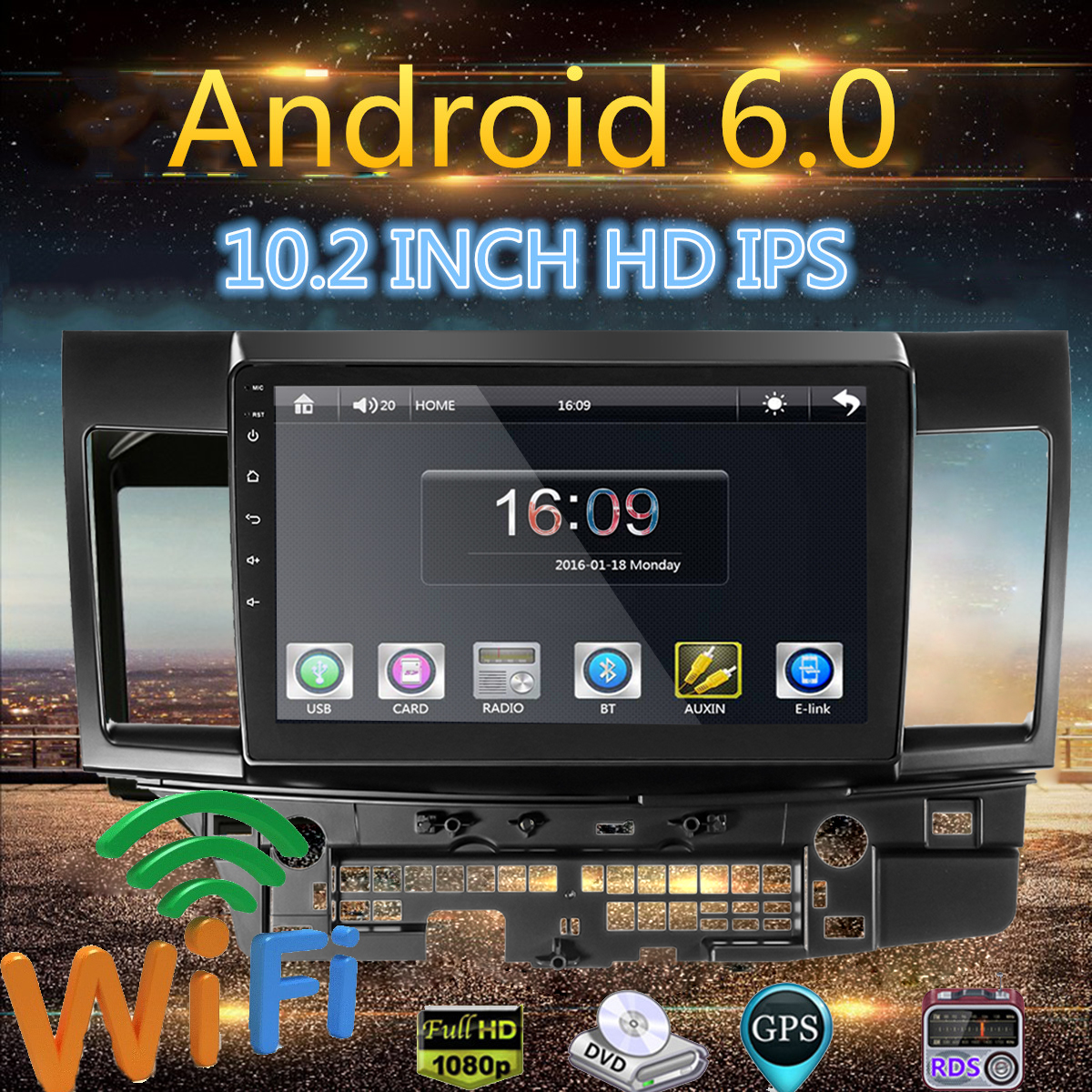 10.2 Inch for Android 6.0 Car GPS MP5 MP3 Two strand Car Media Player Stereo Navigation Radio Player For Mitsubishi for Lancer