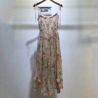 Богемное 100% шелковое платье для женщин Спагетти длинное платье на лямках 2019 высококачественное модное платье с цветочным принтом ТРАПЕЦИЕ
