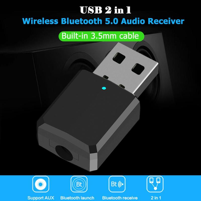 Audio USB 2 in 1 Bluetooth Car Launch Music AUX Transmitter Receiver Adapter
