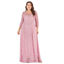 Women Dress Plus Size 6l Long Europe Seven Part Sleeve Hollow Out Lace Longuette New Dresses XL XXL XXXL 4XL 5XL 6XL(China)