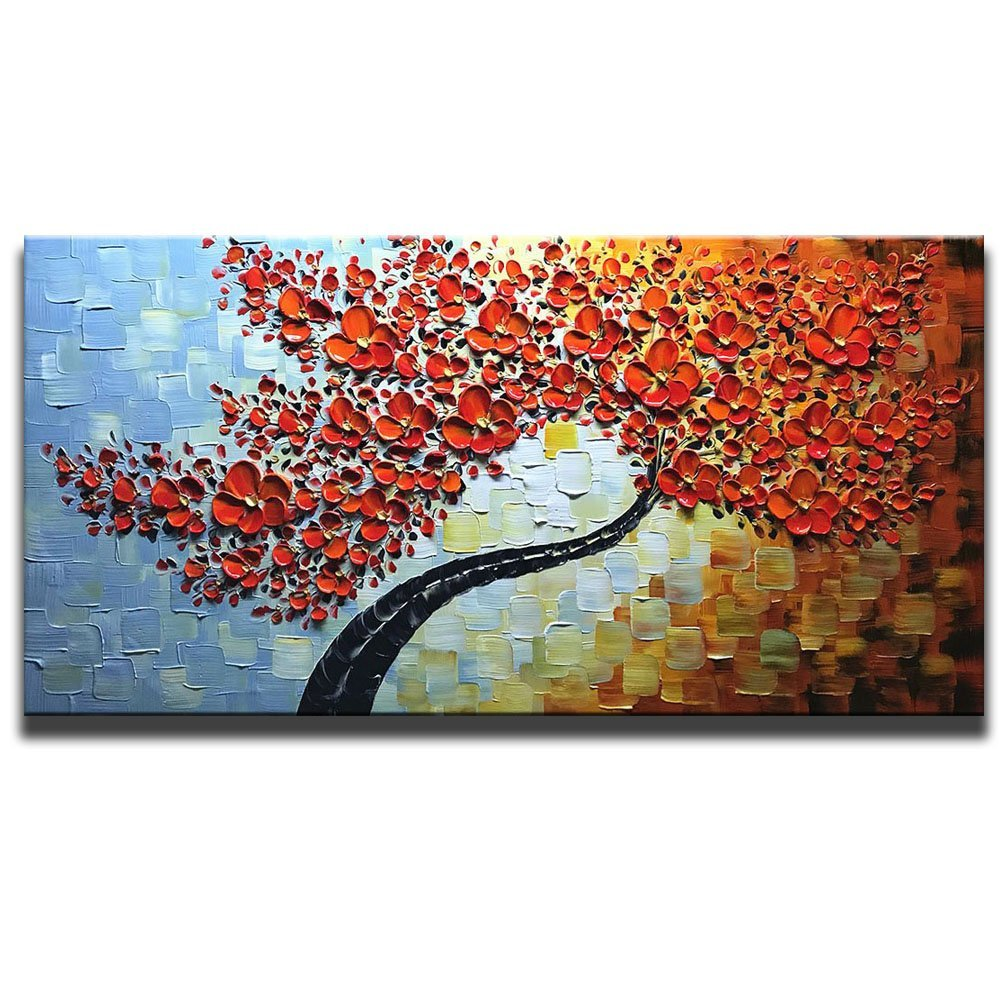 100 Hand Painted 3D Oil Paintings Maple Tree Pictures Home Decor Red Artwork Canvas Wall Art