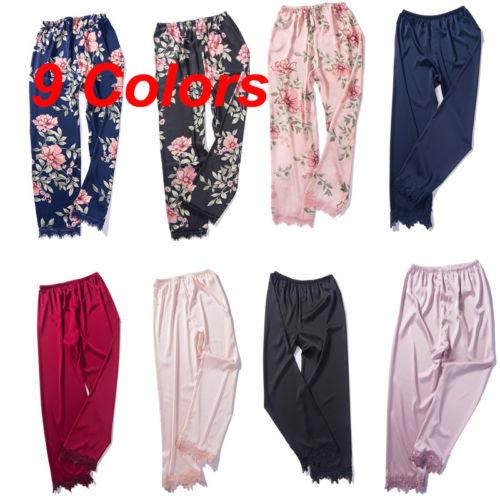 Женская шелковая атласная пижама, ночная одежда для дома, длинные штаны, новинка 2019