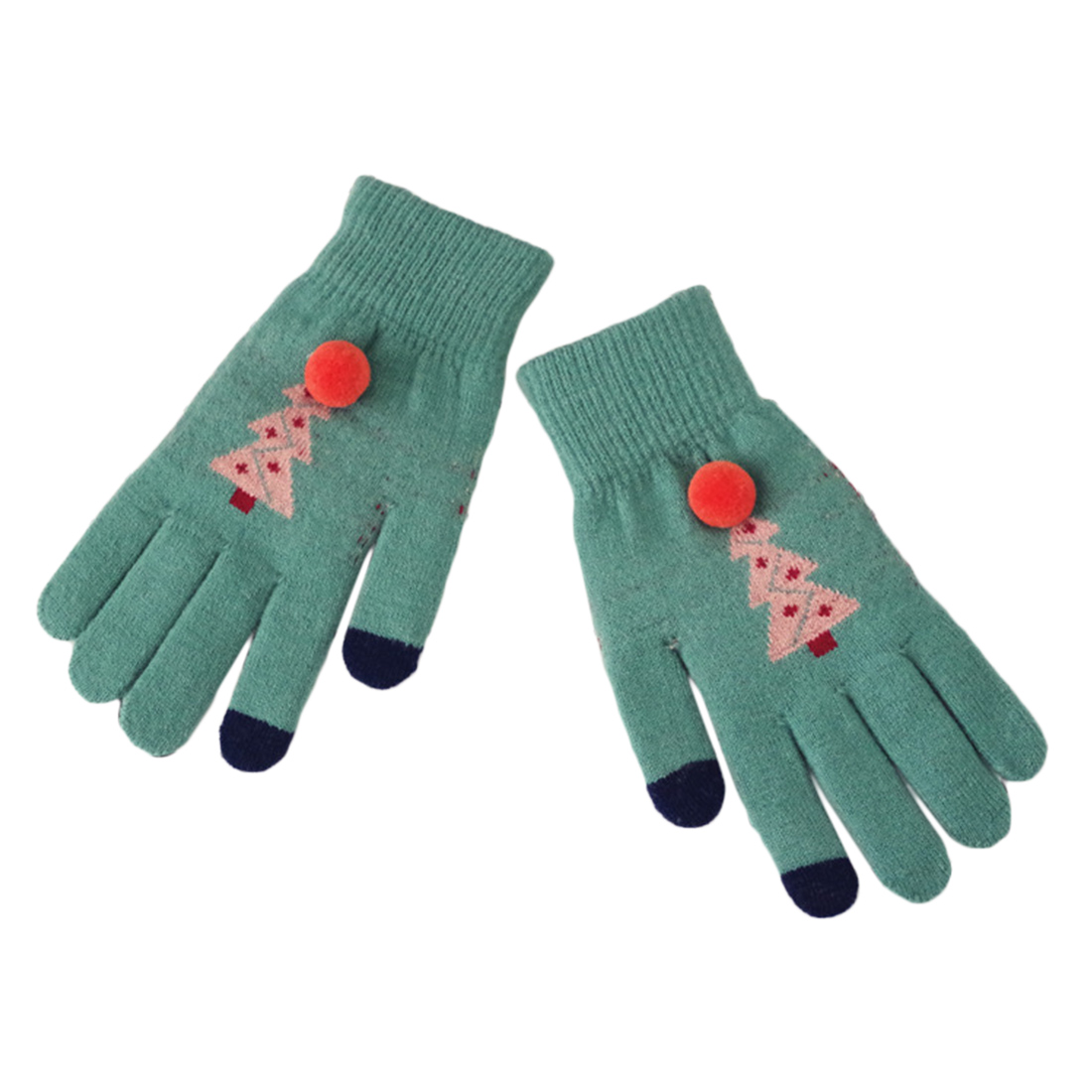 1 Pair Touch Screen Ladies Gloves Imitation Cashmere Christmas Tree Female Five finger Gloves Double Thick Warm Gloves Luvas in Women 39 s Gloves from Apparel Accessories