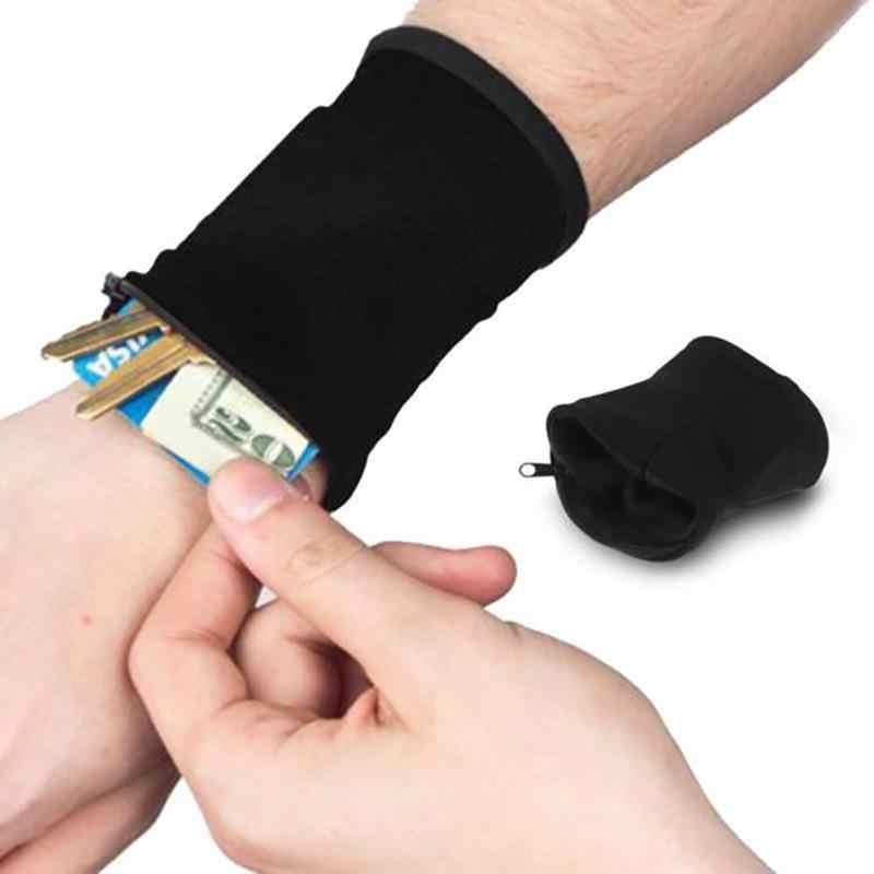 Cremallera muñeca cartera bolsa deporte banda para el brazo de bolsa para MP3 tarjeta bolsa de almacenamiento caso de bádminton, baloncesto pulsera Sweatband