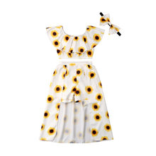 6c088f80a668 2019 Summer Children Girls Sunflower Clothes Off shoulder Crop Tops Skirted  Shorts Headband 3PCS Outfits Kids Clothing Set