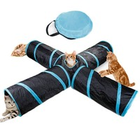 Foldable Funny Cat Tunnel Tube Toy With Ball Pet Tent Toys 4 Holes Kitten Cat Play Cat Bed House Cat Supplies Rabbit Play Tunnel