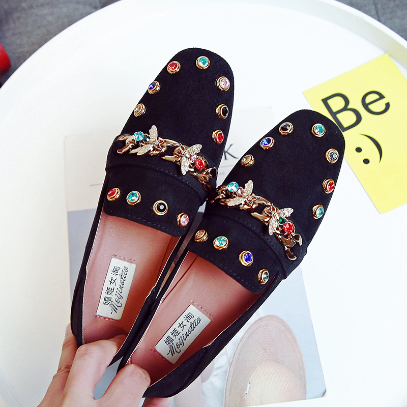 Rhinestone Shoes Women Flats Plus Size Moccasins Ladies Lazy Loafers Slip On Casual Fashion Female Footwear 2018 Spring Autumn