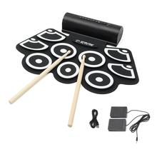 Electronic Drum Digital USB MIDI Keyboard 7 Pads Roll up Drum Set Silicone Electric Jazz Drum Pad Kit with DrumSticks Foot Pedal
