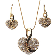 Romantic Love Heart Jewelry Sets for Women Fashion Crystal N