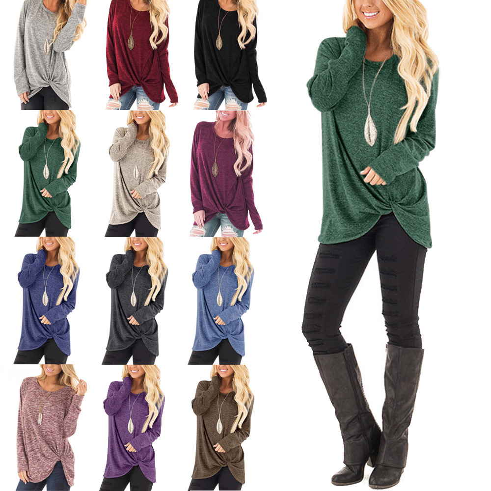 Women's Long Sleeve TShirts Plus Size Shirt Fashion Casual Tops Loose O Neck Female Blouse Sexy Sweatshirts Pullover Clothing