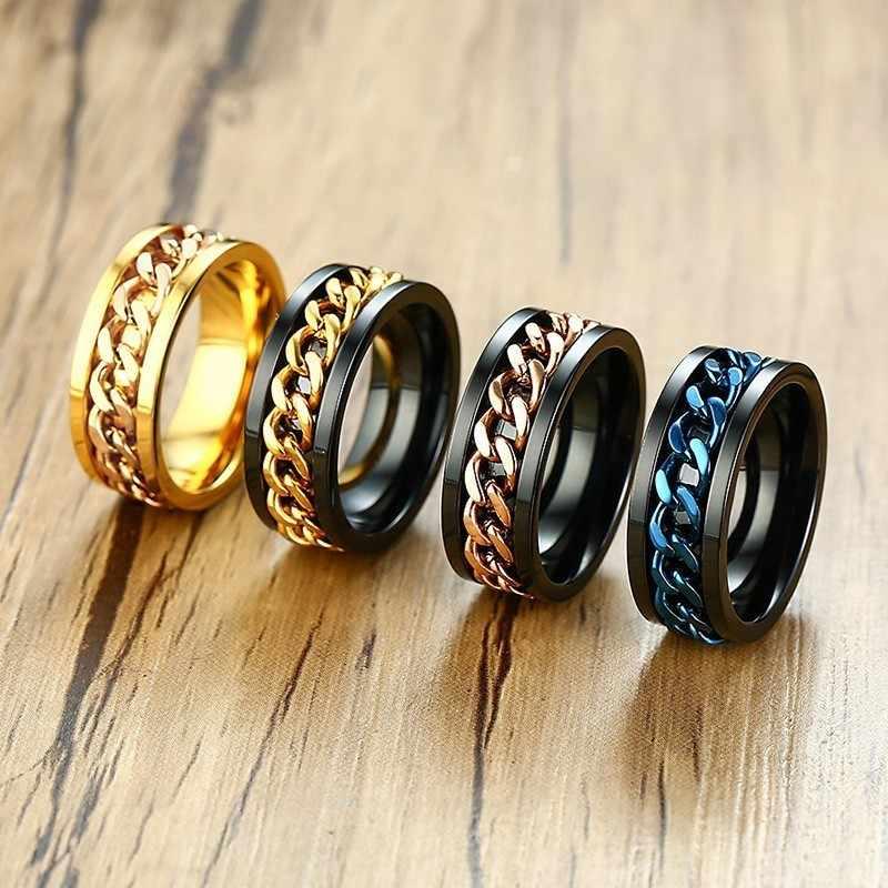 Vnox мужские Spinner кольцо 8 мм одноцветное обручальные кольца для мужского мальчик с Нержавеющаясталь Байкерская цепочка