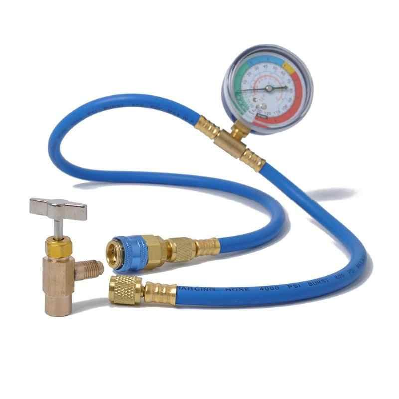 VODOOL Car AC Air Conditioning R134A Refrigerant Recharge Hose w/ Pressure  Gauge Measuring Kit Copper Auto Car Accessories