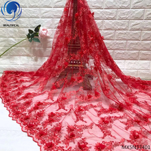 Beautifical 3D red lace fabric embroidered appliques 3d flower aplique 2019 design with beads 5yards/piece MX5N334