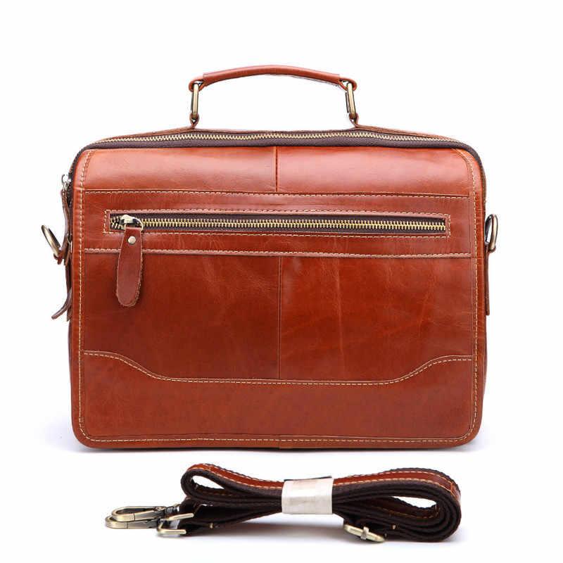 bf52356c4 Men Genuine Leather Briefcase Messenger Laptop Pack Business Bags For  Document Shoulder Handbags Computer Pocket Bolsa