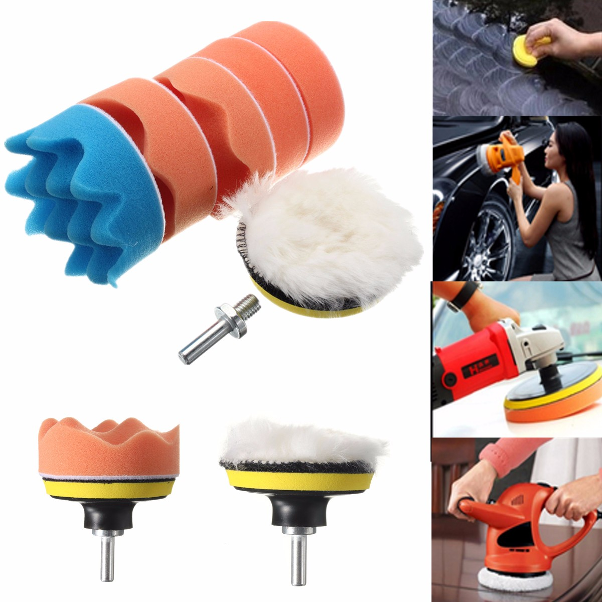 7 Pcs 3 Inch Buffing Pad Auto Car Polishing Wheel Kit + Drill Adapter M14 Polisher Pad polishing buffing pad kit for car polishing with m10 thre drill adapter buffing pad kit auto truck boat polisher tools 4 stypes