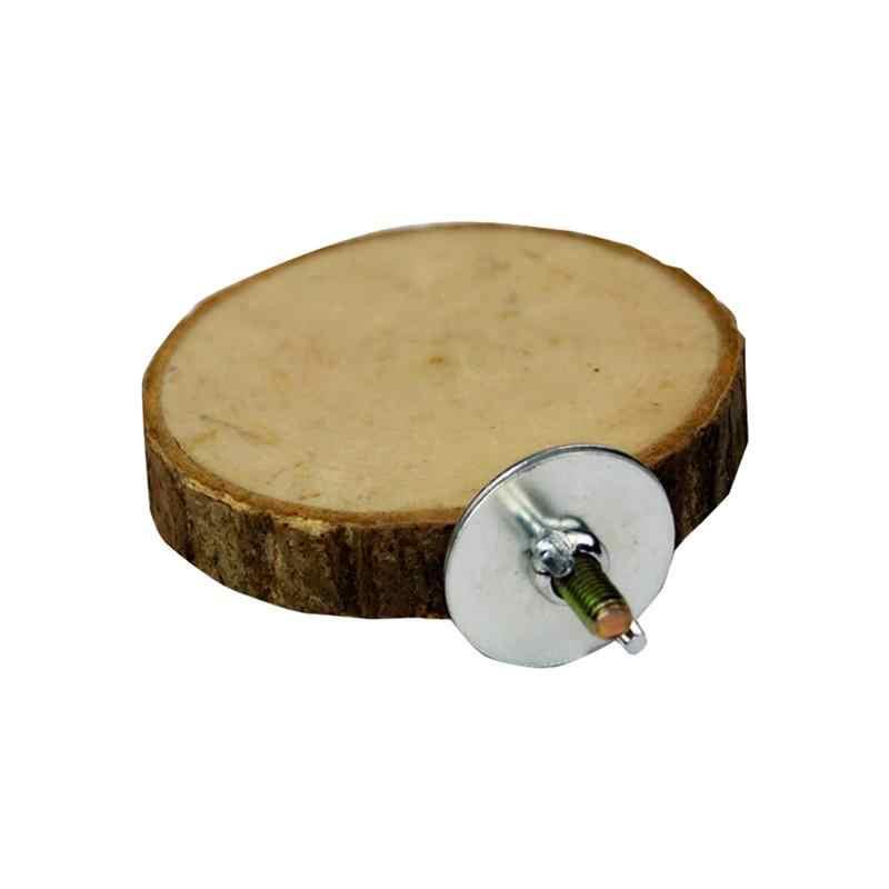 1 ピース木製ラウンドオウムステーションボード踏み台木材プラットフォームスタンドラックスーツスナネズミためペットオウムハムスター鳥ケージ