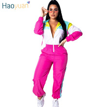 d2be6460b559 HAOYUAN Color Block Rompers Womens Jumpsuit 2019 New Casual Long Sleeve  Front Zipper Overalls Streetwear Sexy