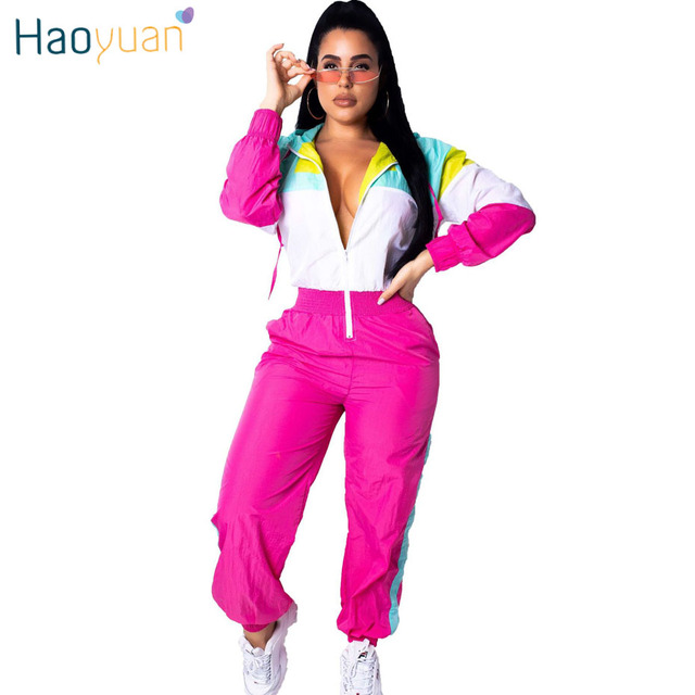 HAOYUAN Color Block Rompers Womens Jumpsuit 2019 New Casual Long Sleeve Front Zipper Overalls Streetwear Sexy One Piece Jumpsuit
