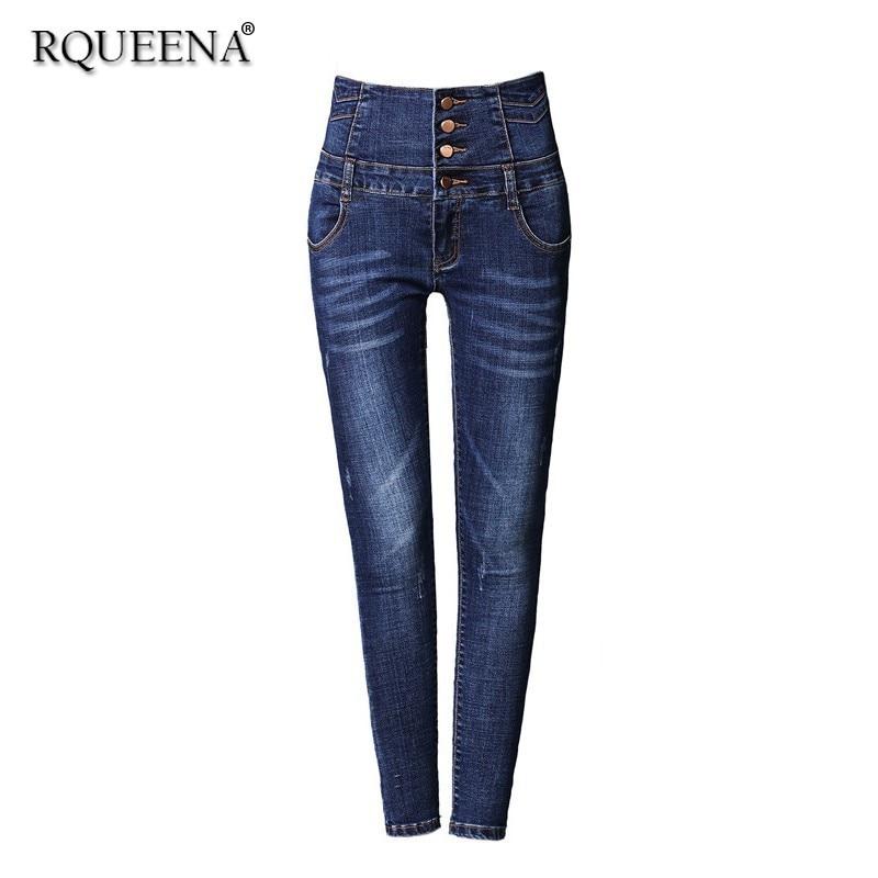 Rqueena printemps femmes Jeans noir/bleu/gris femmes Skinny élastique taille haute Denim Jeans pantalons pour femmes de grande taille JE004