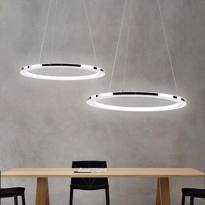Modern LED Chandelier For Living Dining Room Hours Light Rings Suspension Lighting Fixtures Lustre Hanging Lamp With Remote