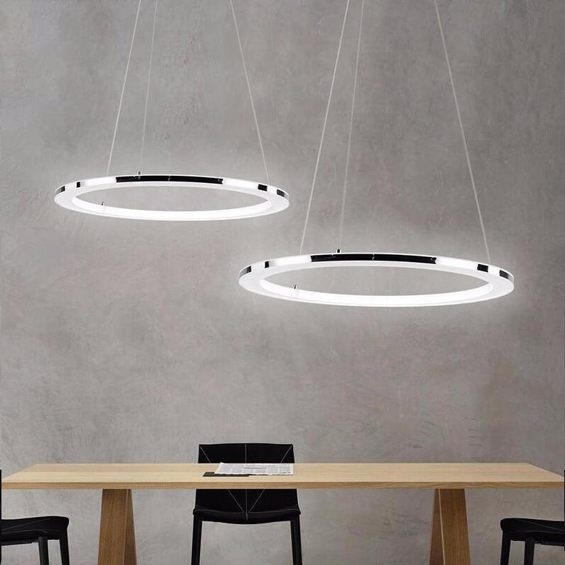 Moderno LED Lampadario Per Soggiorno Sala da pranzo Ore di Luce Anelli di Sospensione Apparecchi di Illuminazione Lustre Lampada A Sospensione Con Telecomando