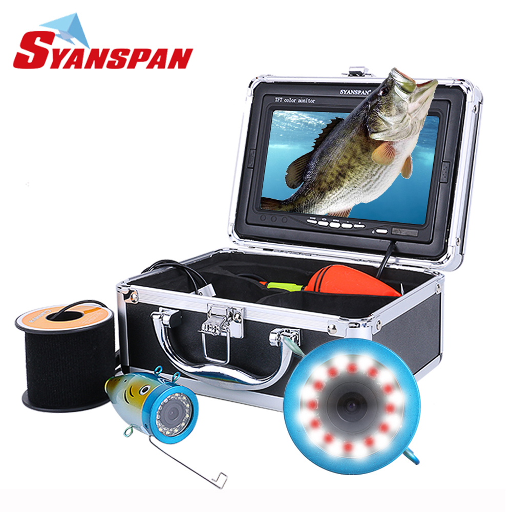Fish Finders Pddhkk 4.3 Inch Color Monitor 1000tvl Underwater Waterproof 50m Cable Fishing Video Camera Kit 6 Pcs 1w Bright Led White Lights For Sale