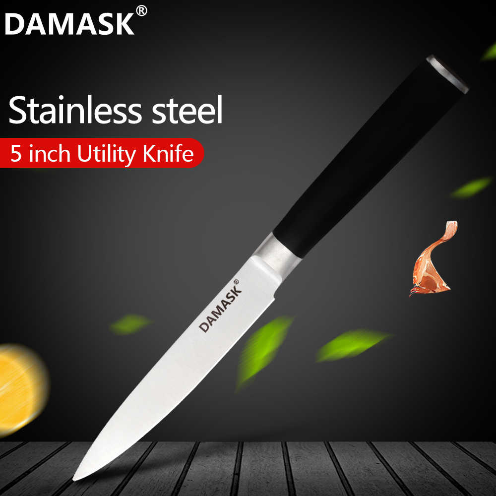 Damask Stainless Steel Kitchen Knife 5 Inch Kitchen Utility Knife Ergonomic Wooden Handle Paring Santoku Chef Slicing Cook Tools