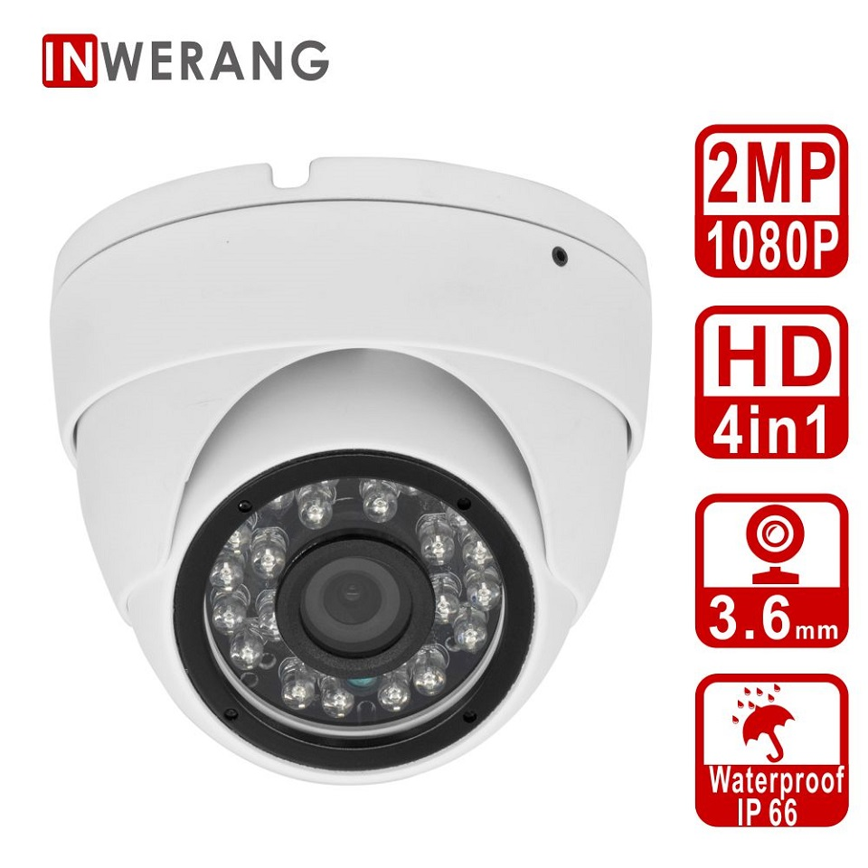Inwerang HD 2MP 4in1 Dome Security Camera Outdoor/Indoor 3.6mm Lens Wide Angle, IP66 Waterproof Day/Nigh Vision Security CameraInwerang HD 2MP 4in1 Dome Security Camera Outdoor/Indoor 3.6mm Lens Wide Angle, IP66 Waterproof Day/Nigh Vision Security Camera
