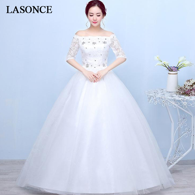 LASONCE Crystal Boat Neck Lace Embroidery Ball Gown Wedding Dresses Illusion Half Sleeve Off The Shoulder Bridal Gowns