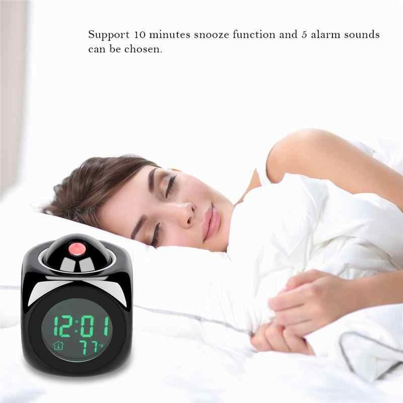 Baru Fashion Perhatian Proyeksi Cuaca Digital LCD Alarm Clock Proyektor Layar Warna Lampu Latar LED Bell Timer