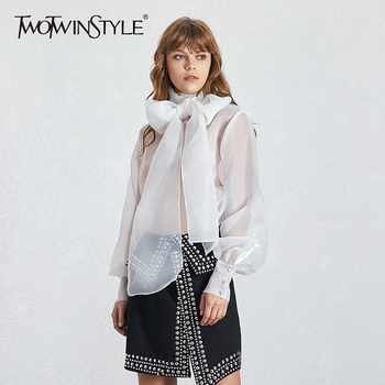 TWOTWINSTYLE Summer Casual Mesh Perspective Thin Women Shirt Lace Up Bow Collar Long Sleeve Loose Slim Button Female Tops 2019 - DISCOUNT ITEM  30% OFF All Category