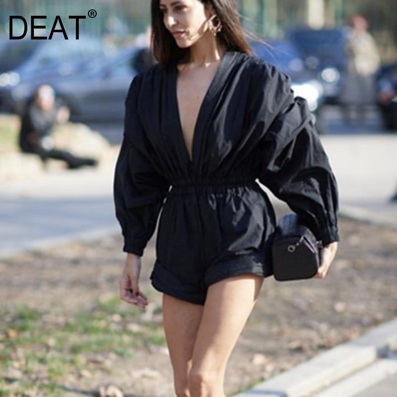 DEAT 2020 New Spring Fashion Women Clothing Europe V-neck Lantern Sleeves High Waist Vintage Sexy Jumpsuit WE01701M