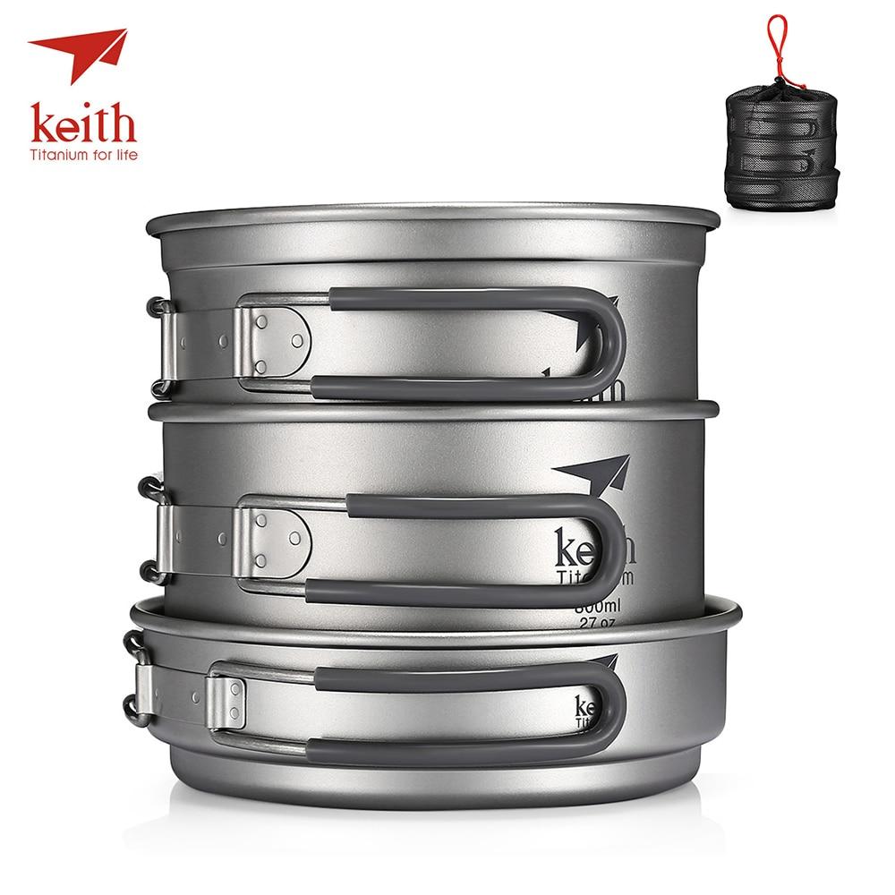 Keith Pur Titane 3 pièces batterie de Cuisine De Camping Portatif Extérieur Bol Pot Pique-Nique Pliant Vaisselle Avec Couvercle 1.2L Pot 0.8L Bol