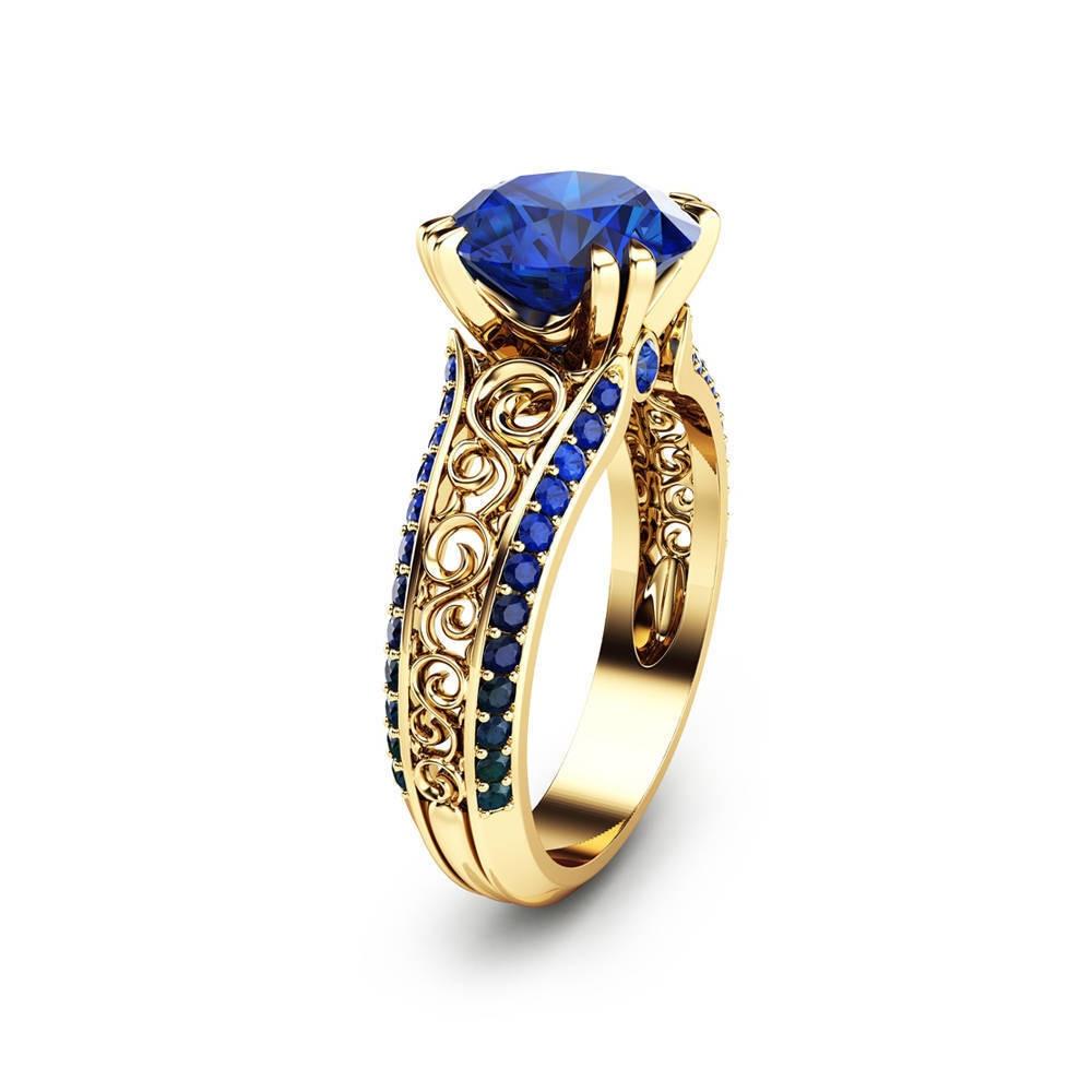Anillo De plata De primera ley y zafiro azul para mujer, sortija, oro De 14 quilates, piedra preciosa, zirconia, circonita, zirconita, 1 quilate
